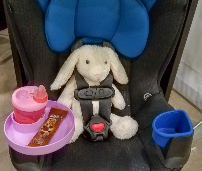 Travel Tray in a car seat at the Chicago Baby Show