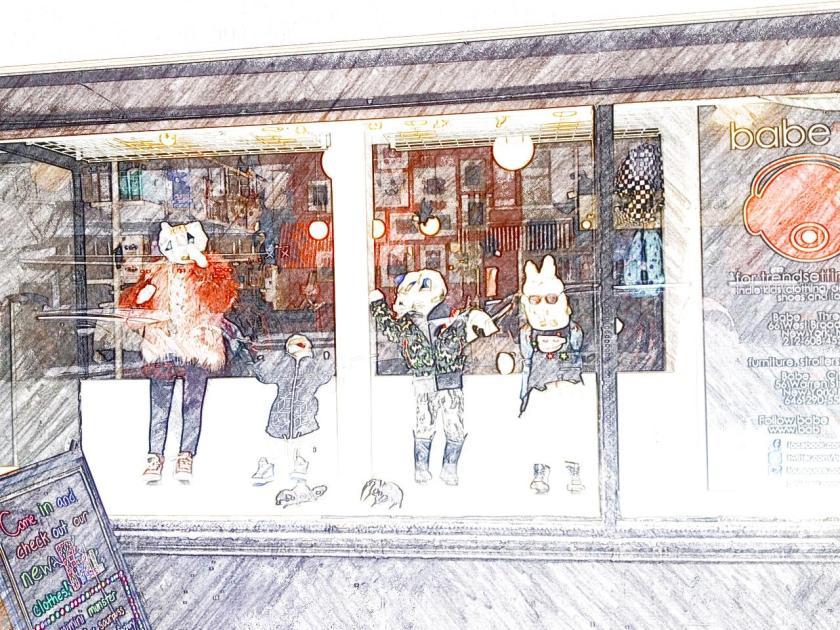 Good window display at Babesta children's clothing shop - Halloween New York