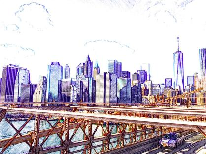 Brooklyn Bridge view of Manhattan - New York - High Line