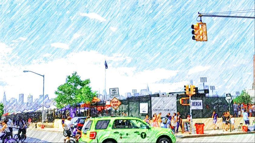 Smorgasburg at Williamsburg (Brooklyn taxis are green. Who knew?)