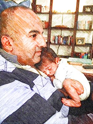 C cuddling Baby J
