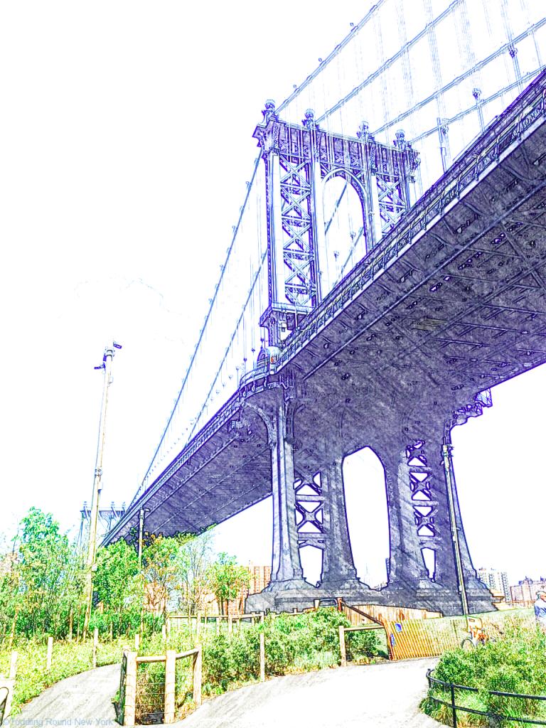 Looking up at Brooklyn Bridge from DUMBO