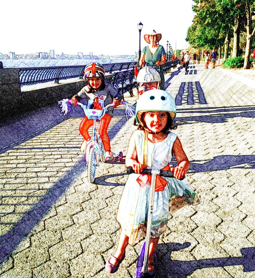 Leanring to scoot and cycle along the Hudson River Esplanade