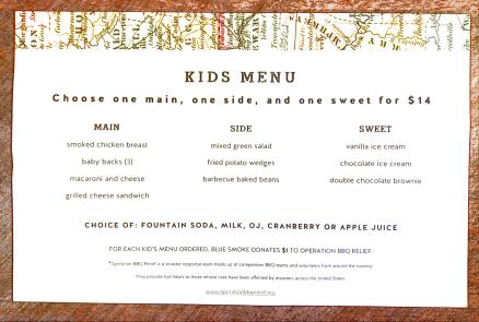Blue Smoke kids menu