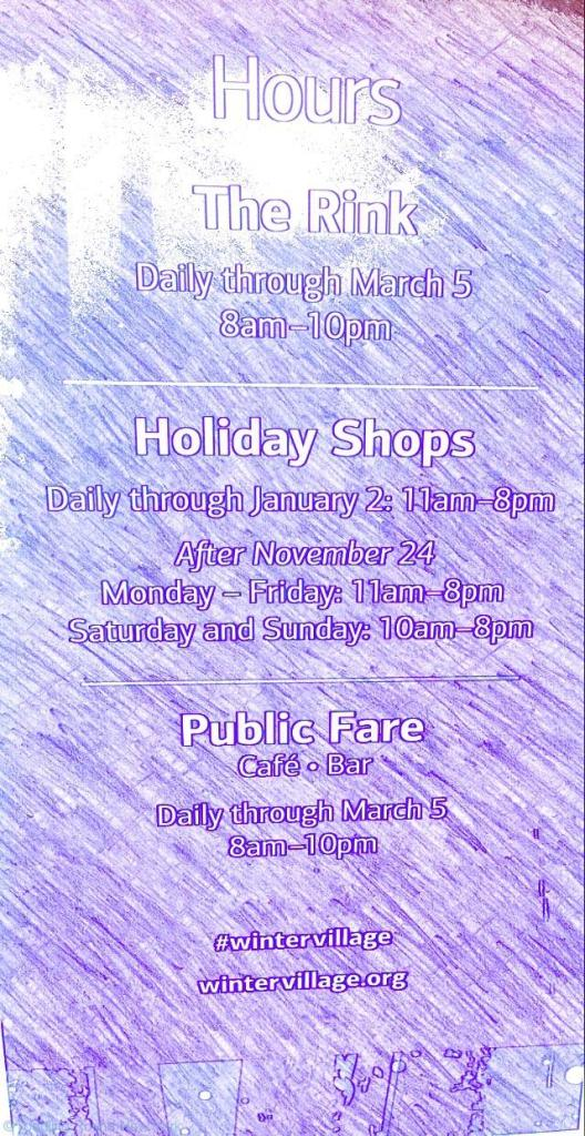 Bryant Park Winter Village - ice rink hours
