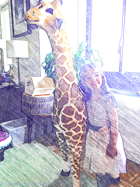 Birthday girl B turns four - with a huge giraffe