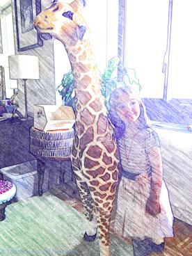 Birthday girl B turns four - with a huge giraffe