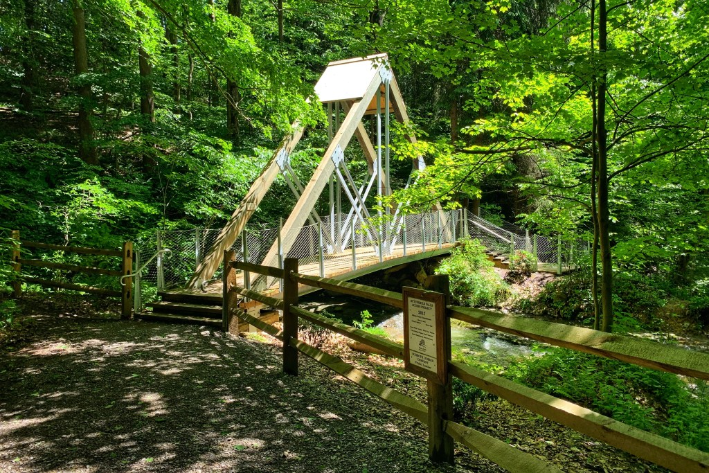 Buttermilk Falls Walking Bridge Indiana PA things to do with kids