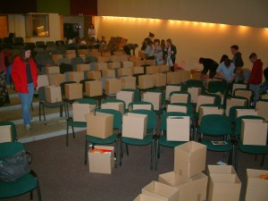 Boxes, boxes everywhere! In 2 hours our church packed 200 boxes.