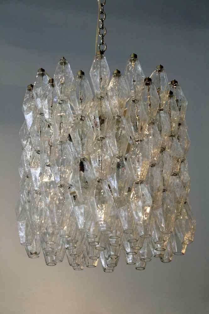 Clear Polyhedral Chandelier By Carlo Scarpa For Venini