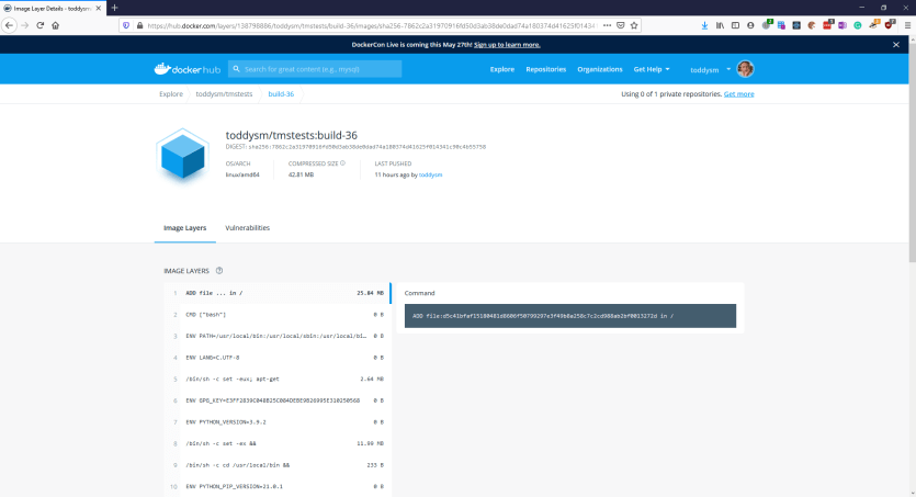 Docker container image with labels