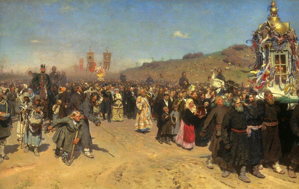 Ilya Repin Religious Procession in Kursk Province, oil on canvas