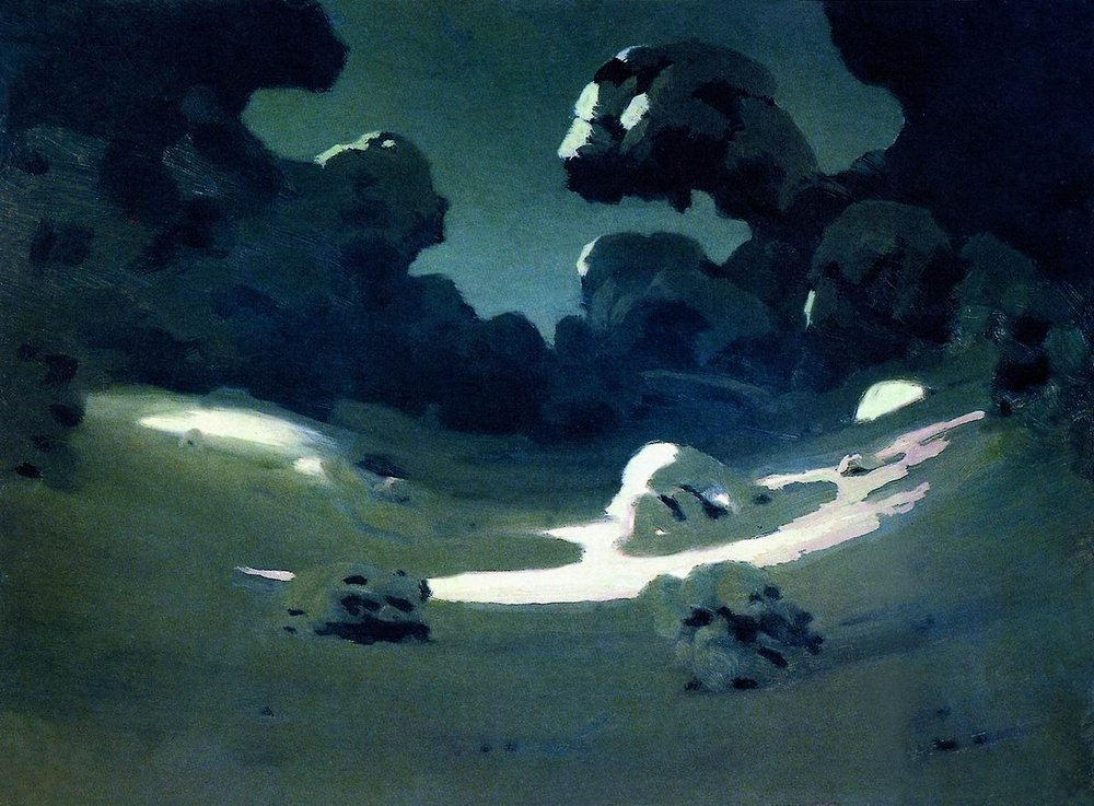 Arkhip Kuindzhi - Spots of moonlight in the forest. Winter, paper on canvas, oil (1898-1908)