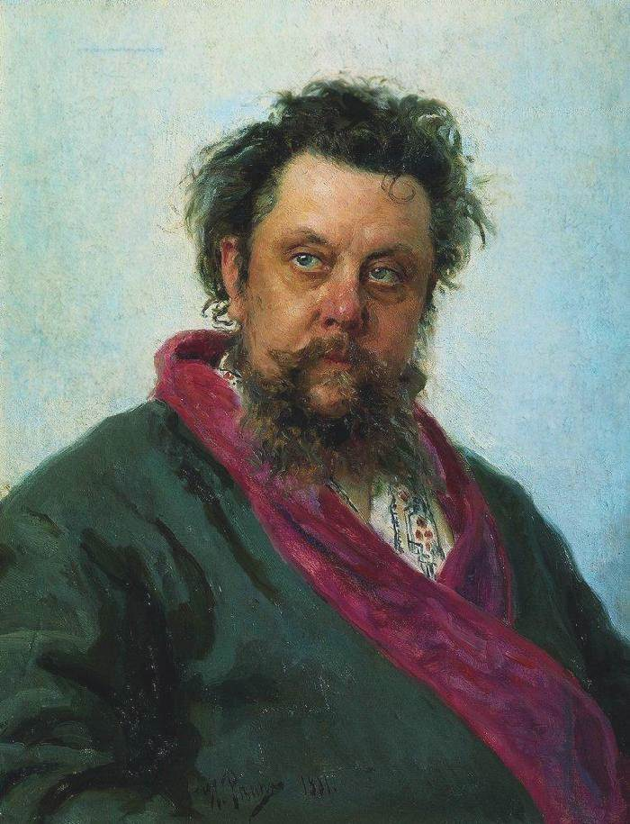 Ilya Repin Portrait of the composer M.P. Mussorgsky, oil on canvas (1881)