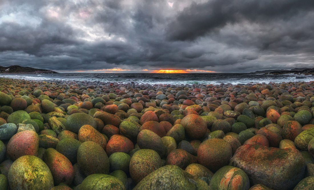 Round stones on the shore of the Barents Sea