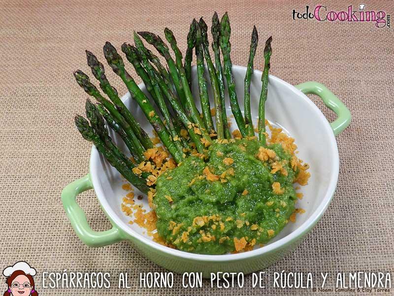 Esparragos-Horno-Pesto-Rucula-Almendras, recetas saludables