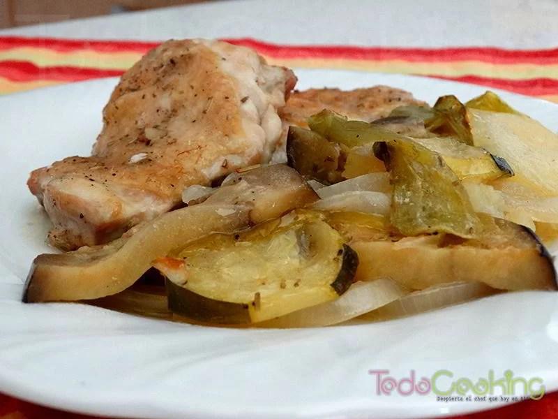 Contramuslos pollo asado con verduras