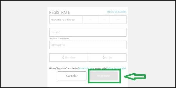 rellenar formulario de registro