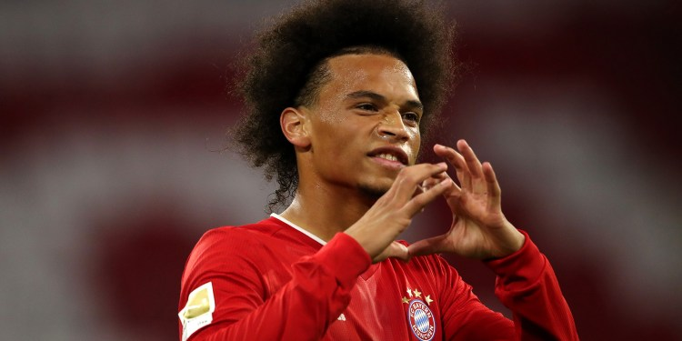 MUNICH, GERMANY - SEPTEMBER 18:  Leroy Sane of Bayern Munich celebrates after he scores his teams seventh goal during the Bundesliga match between FC Bayern Muenchen and FC Schalke 04 at Allianz Arena on September 18, 2020 in Munich, Germany. Fans are set to return to Bundesliga stadiums in Germany despite to the ongoing Coronavirus Pandemic. Up to 20% of stadium's capacity are allowed to be filled. Final decisions are left to local health authorities and are subject to club's hygiene concepts and the infection numbers in the corresponding region. The match in Munich is played behind closed doors due to the high number of new Covid-19 cases in the city of Munich. (Photo by Alexander Hassenstein/Getty Images)
