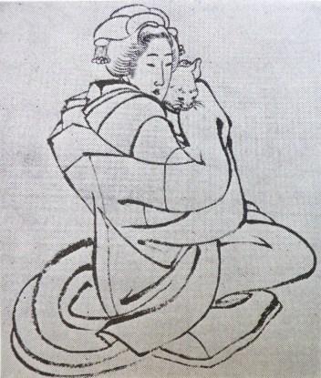 woman who hugs a cat