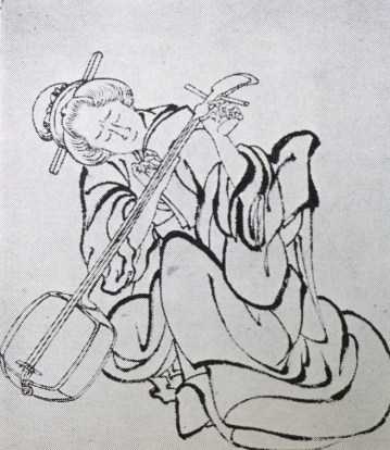 Woman playing the shamisen