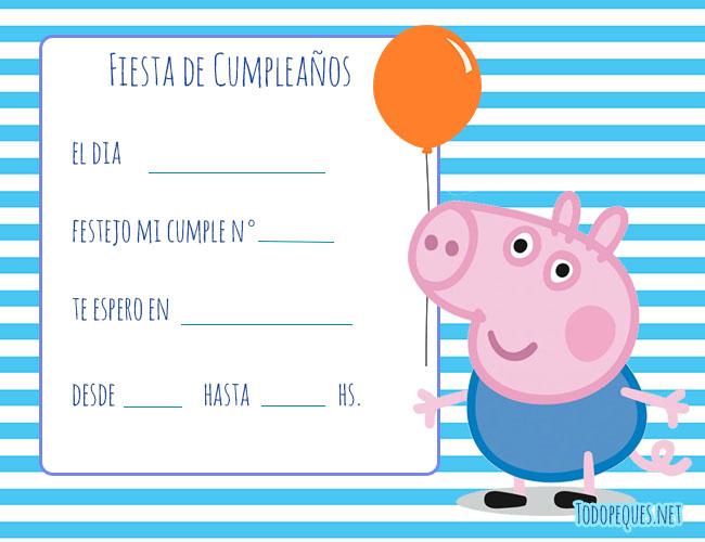 Invitaciones George Pig Cumpleanos Tarjetas De George