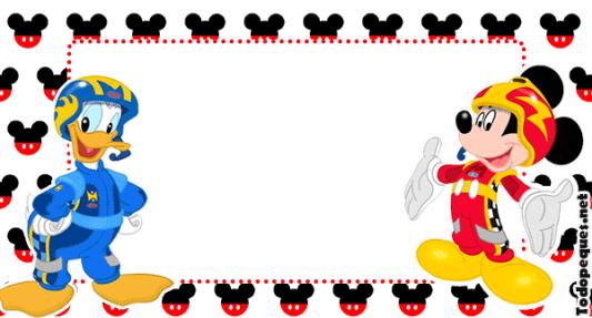 MIckey carreras stickers marcos invitaciones tarjetas