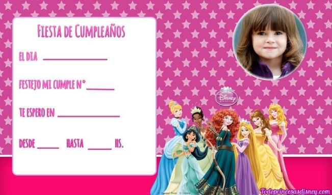 Editar tarjetas cumpleanos Princesas con Foto