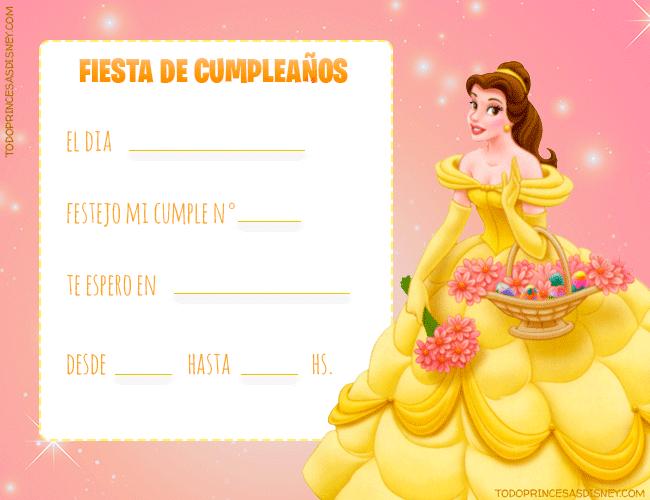 Invitaciones de Cumpleanos de Princesa Bella