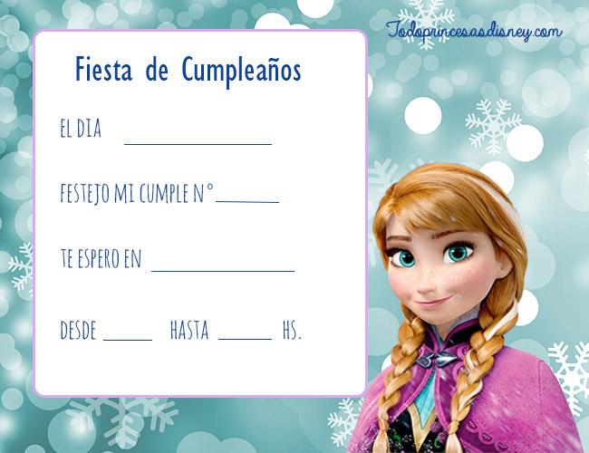 Invitaciones De Cumpleaños De Frozen Princesas Disney