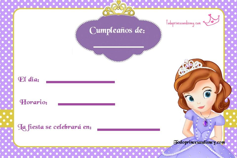 Invitaciones Gratis De Princesa Sofia Princesas Disney