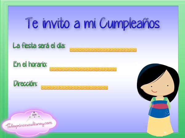 Invitaciones de cumpleaños de Mulán Princesas Disney