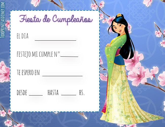 Tarjetas de Mulan cumpleanos - Invitaciones de princesas disney