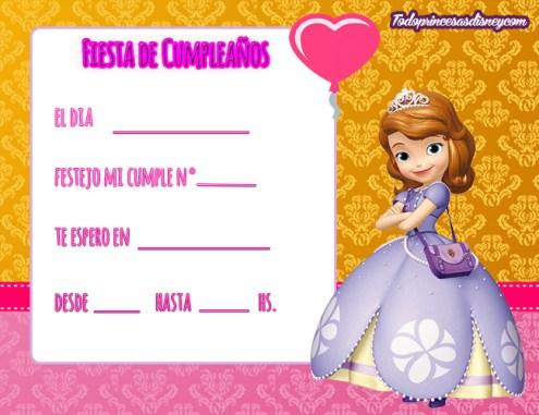 Participaciones princesita sofia - cumpleanos princesita sofia -