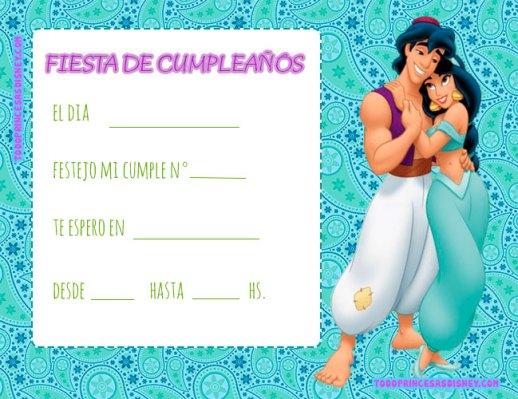 Invitaciones Aladdin tarjetas cumpleanos