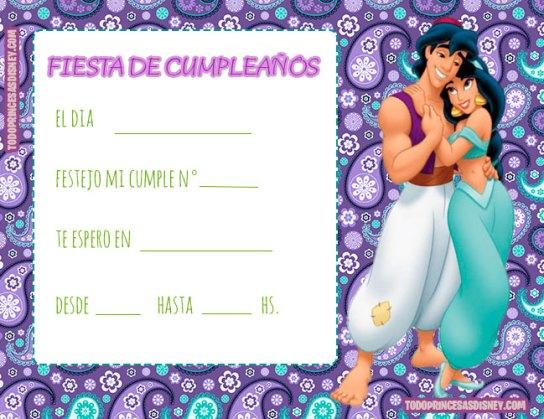 Tarjetas de Cumpleanos de Princesa Jasmin Aladdin