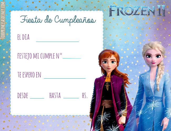 Cumpleanos frozen 2 convites