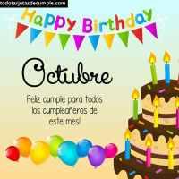 Tarjetas de cumpleaños mes de Octubre para descargar gratis