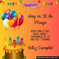 Tarjetas de cumpleaños con los días del mes de Mayo