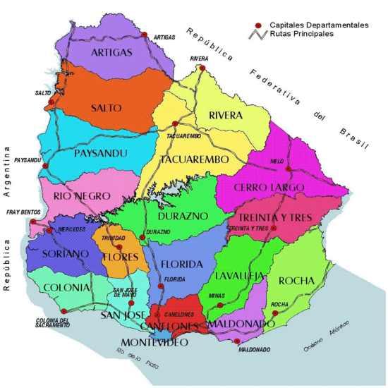 Uruguay Mapa Tidal Treasures - Mapa florida