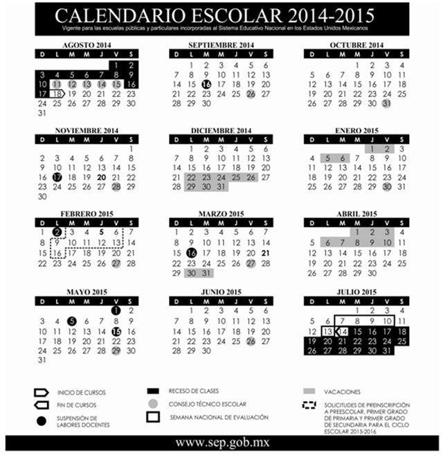 SEP publica el calendario escolar 2014-2015