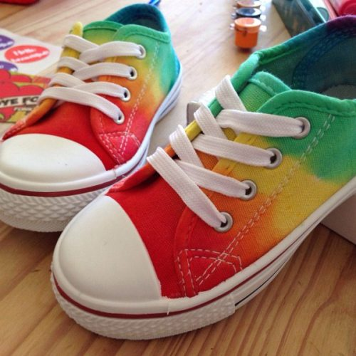 Rainbow custom dyed kids canvas lace up trainers