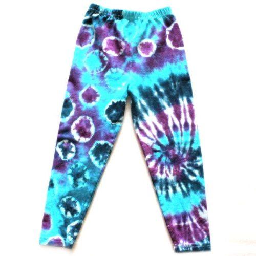 Custom dyed kids leggings blues and purple miss match