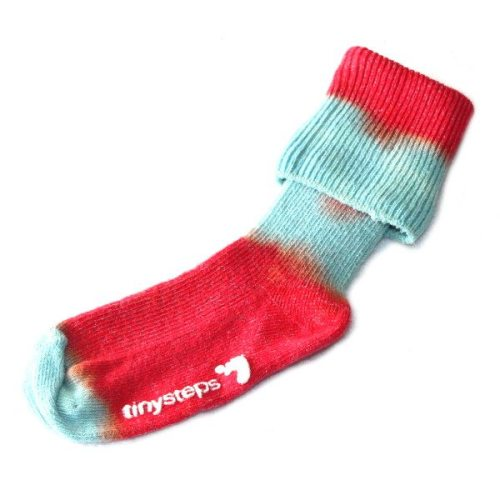 socks with red & turquoise stripe