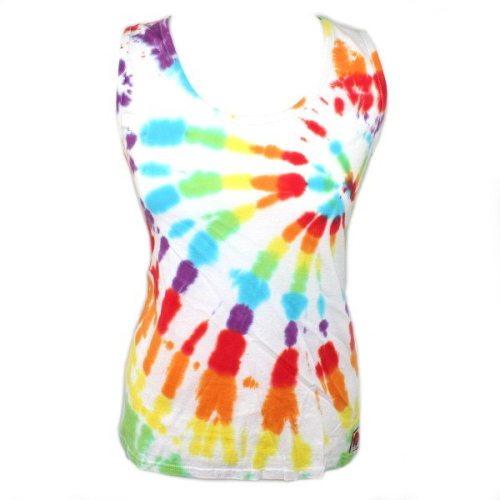 Ladies Vest - White Rainbow