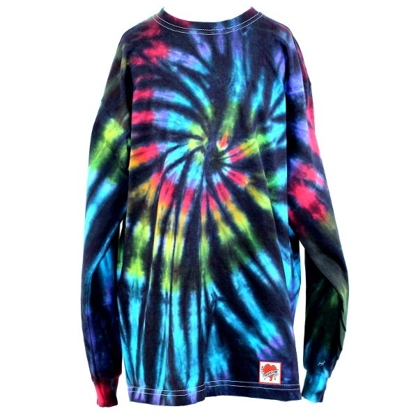 custom dyed long sleeve t-shirt Black Rainbow