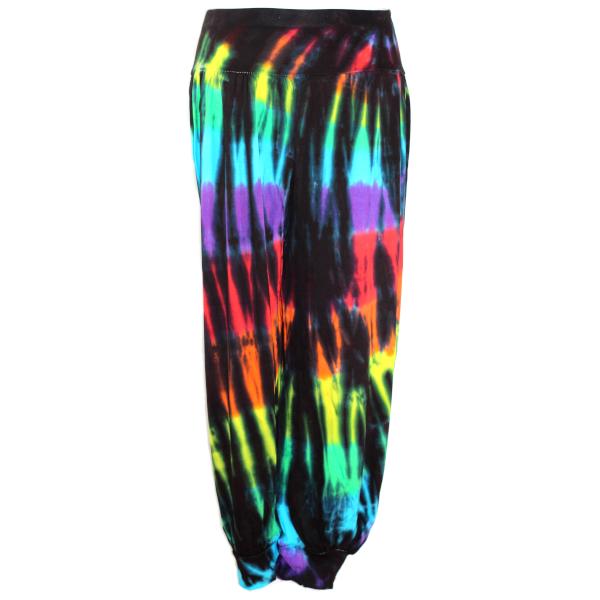 Black rainbow harem pants