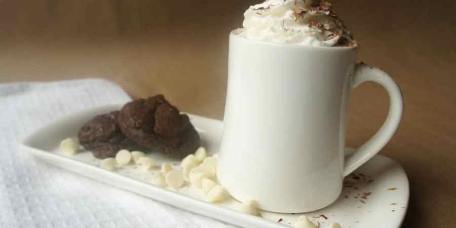 White Hot Chocolate is positively delicious with a side of dark chocolate brownie cookies on a chilly fall day!
