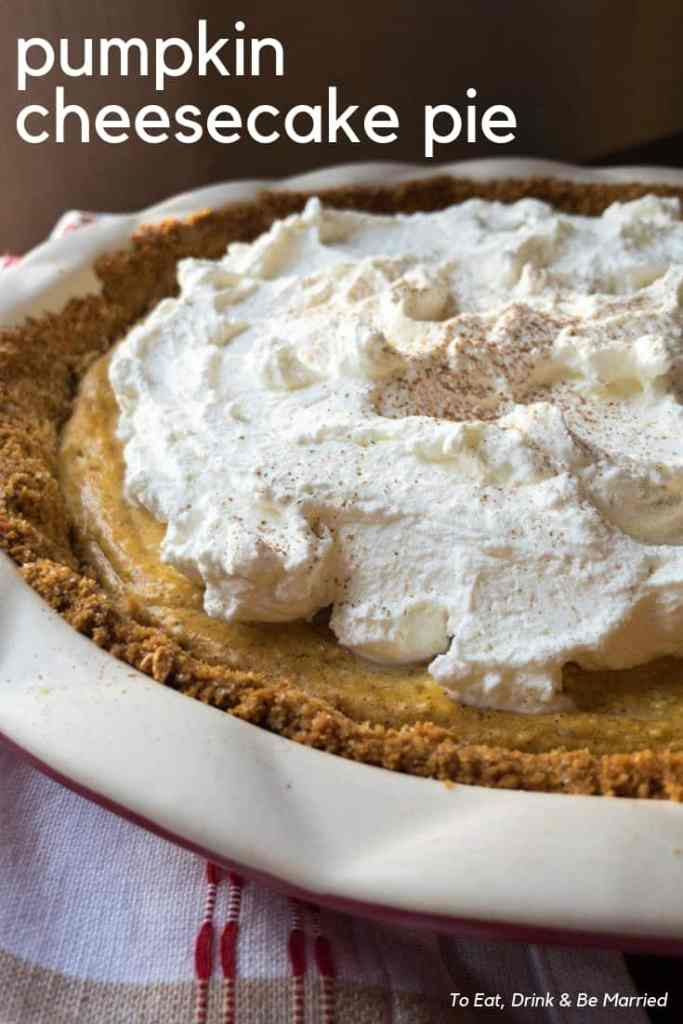 Graham cracker, cheesecake and pumpkin make up this delicious Thanksgiving holiday pie!