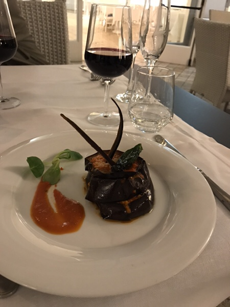 hotel mea lipari restaurant chimera Parmigiana Millefoglie with Eggplant